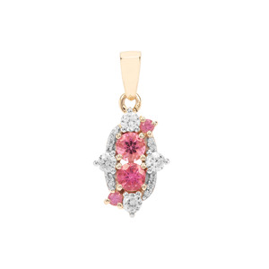 Safira Tourmaline Pendant with White Zircon in 9K Gold 1.08cts