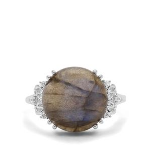Labradorite & White Zircon Sterling Silver Ring ATGW 8.42cts