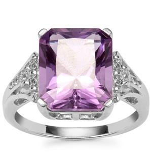 Bahia Amethyst & White Topaz Sterling Silver Barion Cut Ring ATGW 5.61cts