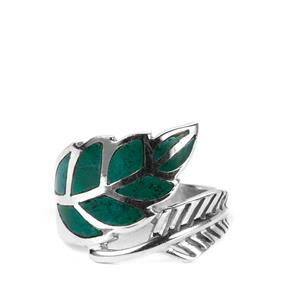3ct Chrysocolla Sterling Silver Leaf Ring