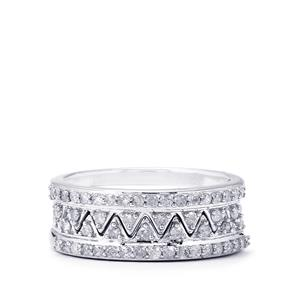 1/2ct Diamond Sterling Silver Set of 2 Stacker Rings