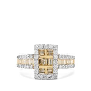 1ct Natural Yellow & White Diamond 9K Gold Tomas Rae Ring