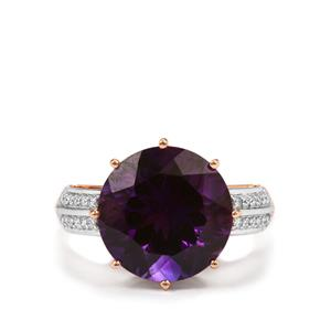 Moroccan Amethyst Ring with Diamond in 18k Rose Gold 5.65cts