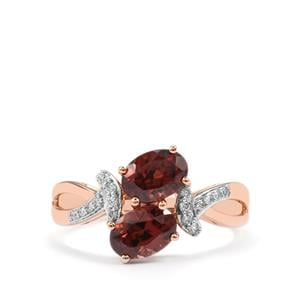 Zanzibar Zircon Ring with Diamond in 18K Rose Gold 2.51ct
