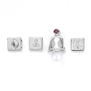 Kaori Cultured Pearl & Mozambique Garnet Sterling Silver Kama Charm Set of 4