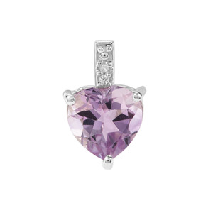 Rose De France Amethsyt & White Zircon Sterling Silver Pendant ATGW 1.71cts