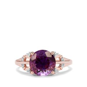 Moroccan Amethyst & White Zircon 9K Rose Gold Ring ATGW 2.60cts