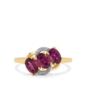 Comeria Garnet Ring with Diamond in 9K Gold 1.65cts