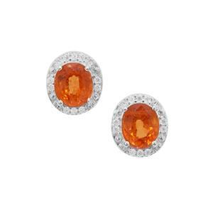 Mandarin Garnet Earrings with White Zircon in Sterling Silver 2.13cts