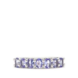 AA Tanzanite Ring in Platinum Plated Sterling Silver 1.16cts