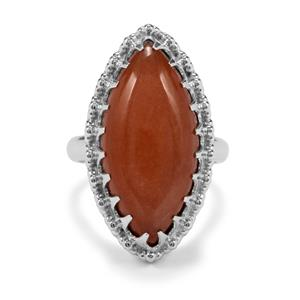 Peach Moonstone Ring in Sterling Silver 15cts