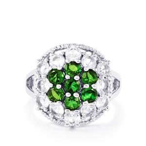 Chrome Diopside & White Topaz Sterling Silver Ring ATGW 4.15cts