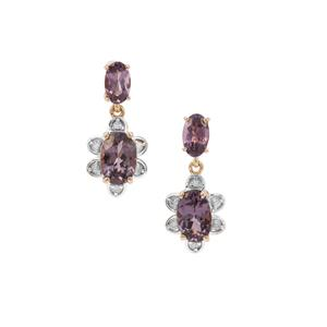 Mahenge Purple Spinel Earrings with Diamond in 9K Gold 1.67cts