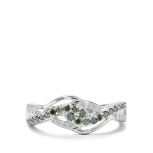 1/3ct Green & White Diamond Sterling Silver Ring