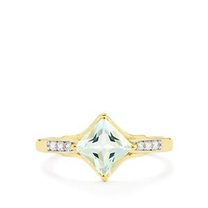 Espirito Santo Aquamarine Ring with White Zircon in 10K Gold 1.03cts