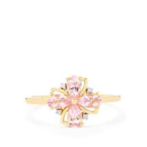Imperial Pink Topaz Ring with Diamond in 10k Gold 0.91cts