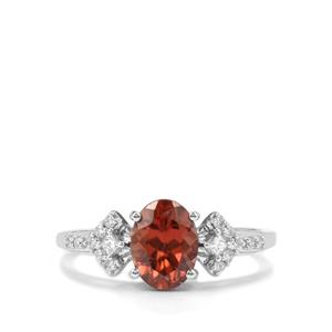 Zanzibar Zircon Ring with Diamond in 18K White Gold 2.10cts