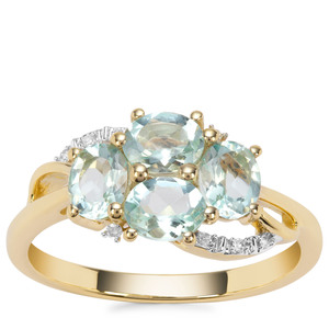 Aquaiba™ Beryl Ring with Diamond in 9K Gold 1.23cts