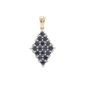 Australian Blue Sapphire Pendant with White Zircon in 9K Gold 1.80cts