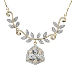 Alpine Cut Optic Quartz Necklace with White Zircon in 9K Gold 5.15cts