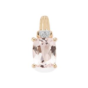 Alto Ligonha Morganite Pendant with Diamond in 10K Gold 1.85cts