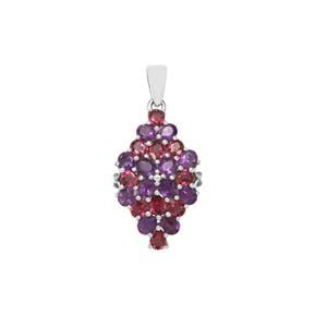 Rajasthan Garnet, Zambian Amethyst Pendant with White Zircon in Sterling Silver 3.81cts