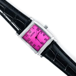 Gemporia Vintage Ruby Timepiece - Hot Pink Dial with Black Strap