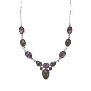 Pink Flash Labradorite & Bahia Amethyst Sterling Silver Aryonna Necklace ATGW 55cts