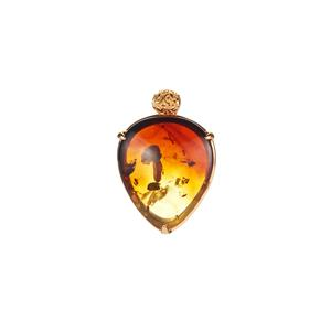 Baltic Ombre Amber Slider Necklace in Gold Tone Sterling Silver (32x26mm)
