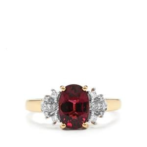 Malawi Garnet Ring with Diamond in 18K Gold 2.69cts