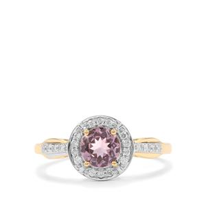 Mahenge Pink Spinel Ring with Diamond in 18K Gold 1.05cts