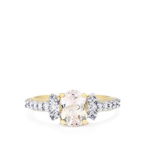 Minas Gerais Kunzite Ring with White Zircon in 10k Gold 1.87cts