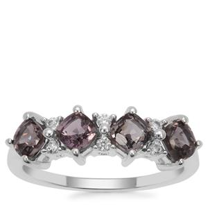 Burmese Spinel Ring with White Zircon in Sterling Silver 1.72cts