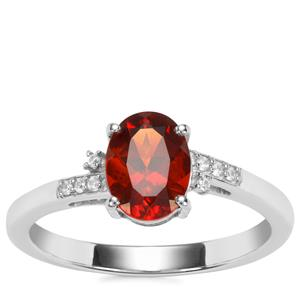Madeira Citrine Ring with White Zircon in Sterling Silver 1.06cts