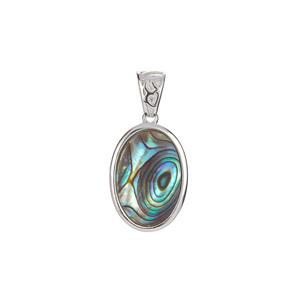 Paua Pendant in Sterling Silver (13.50 x 9mm)