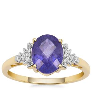 AAA Tanzanite Ring with White Zircon in 9K Gold 2.48cts
