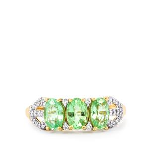 Paraiba Tourmaline Ring with Diamond in 18K Gold 1.32cts