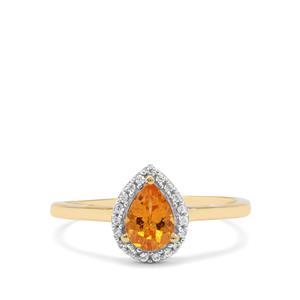 Mandarin Garnet & White Zircon 9K Gold Ring ATGW 0.95ct