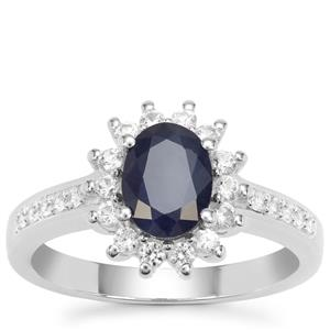 Kanchanaburi Sapphire Ring with White Zircon in Sterling Silver 2.12cts