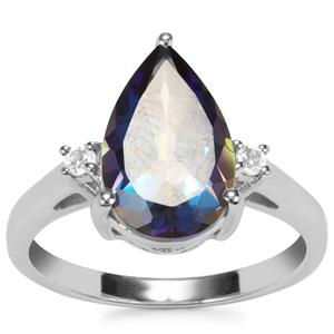 Mystic Blue Topaz Ring with White Topaz in Sterling Silver 3.97cts
