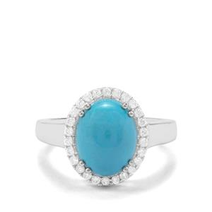 Sleeping Beauty Turquoise & White Zircon Sterling Silver Ring ATGW 3.38cts