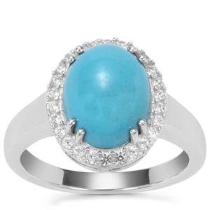 Sleeping Beauty Turquoise Ring with White Zircon in Sterling Silver 3.38cts