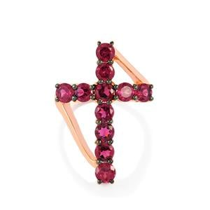 Rajasthan Garnet Ring in Rose Gold Plated Sterling Silver 3.61cts