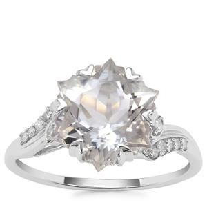Wobito Snowflake Cut Itinga Petalite Ring with Diamond in 9K White Gold 3.75cts