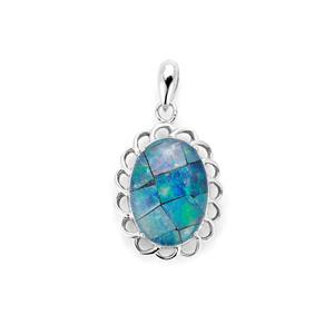 Mosaic Opal Sterling Silver Pendant (14 x 10mm)