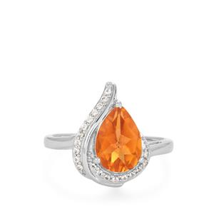 Padparadscha Quartz Ring with White Topaz in Rhodium Flash Sterling Silver 1.54cts