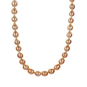 South Sea & Golden South Sea Cultured Pearl Sterling Silver Necklace (9x8mm)