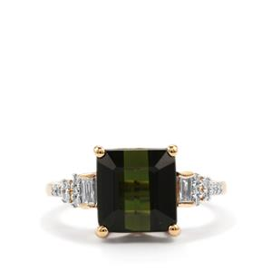 Green Tourmaline Ring with Diamond in 18k Gold 4.97cts