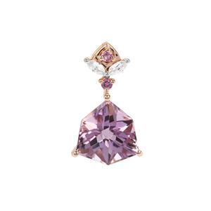 Alpine Cut Rose De France, Bahia Amethyst Pendant with White Zircon in 9K Rose Gold 4.65cts