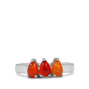 Mexican Fire Opal Ring in Sterling Silver 0.90ct